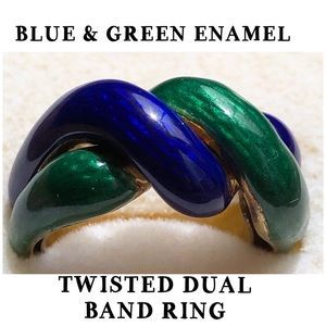 14KT Yellow Gold Twisted Enamel Band Ring 5.5
